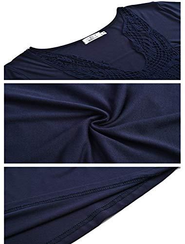 Tops Cou Profond Courtes Chemisiers Chest Mode lgante Shirts Dentelles Ruched Bleu pour Mesdames Manches Femmes et Avant T Blouses Chemises V Casual 6CwqT1WY