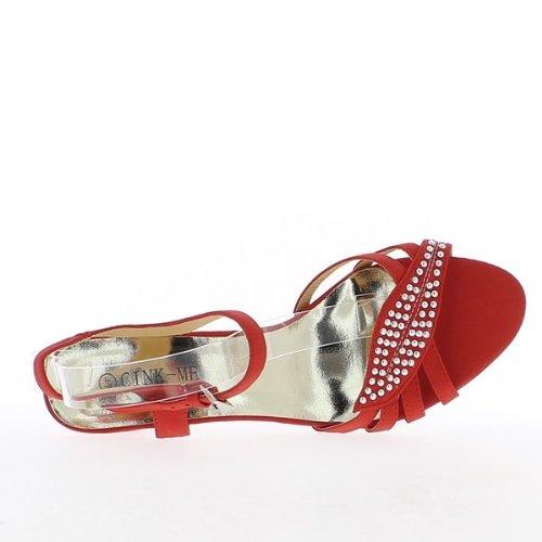Sandales grande taille rouges à talon de 8cm