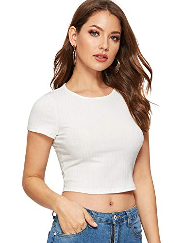 SweatyRocks Women's Basic Short Sleeve Scoop Neck Crop Top White #5 M