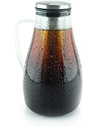 1.7L Airtight Cold Brew Coffee Maker and Tea - Fruit Infuser - Glass Carafe with Removable Stainless Steel Filter - Extra Large (1.7 Liters - 60 oz - 1.8 Quarts)