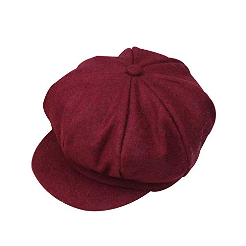 Price comparison product image Nutsima New Wool Baby Hat Octagonal Retro Adjustable Baby Cap for Girl Boy Autumn Winter Children Hat for 2-6 Years 1Pc, Wine Red