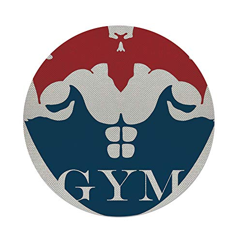 iPrint Cotton Linen Round Tablecloth,Fitness,Strong Muscular Man with Biceps Powerful Athlete Bodybuilder Trainer Gym Logo Decorative,Red Blue White,Dining Room Kitchen Table Cloth -