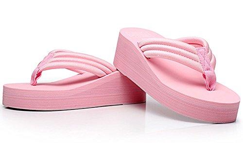 Fashion Pink Summer High Creative Women's Heel Flip Flops qvHg5U6
