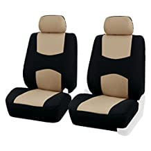 FH Group FB051BEIGE102 Beige Bucket Airbags Compatible Car Seat Cover, Set of 2