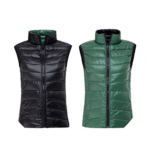 (Autumn Winter Warm Vests Ultra Light Down Vest Woman Double Side Sleeveless Jacket Reversible Plus Size,Black and Green,XXXL)