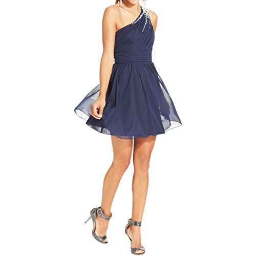 Buy blue beaded one shoulder dress - 4