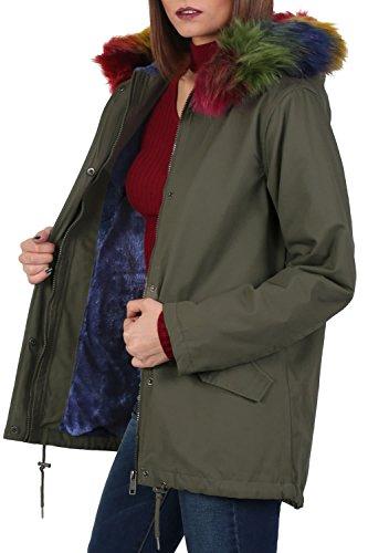 PILOT® multicolor borde de piel sintética abrigo parka con capucha verde caqui