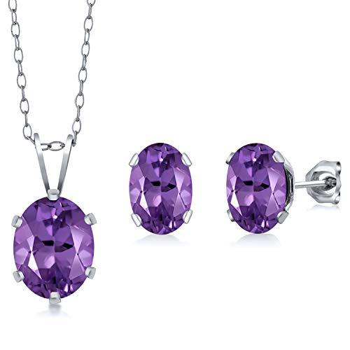 Gem Stone King 925 Sterling Silver 2.65 Ct Oval Purple Amethyst Solitaire Pendant Earrings Set
