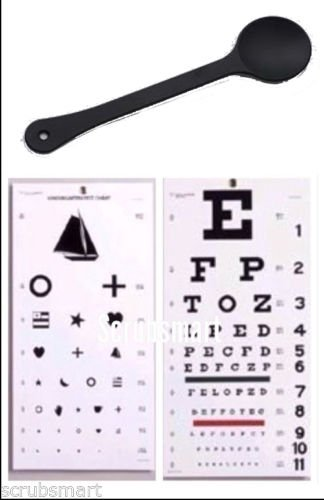 EMI OCC-WSK 3 piece set - Occluder Plus Snellen AND Kindergarten / Children Plastic Eye Vision Exam Test Wall Charts 22 by 11 in.