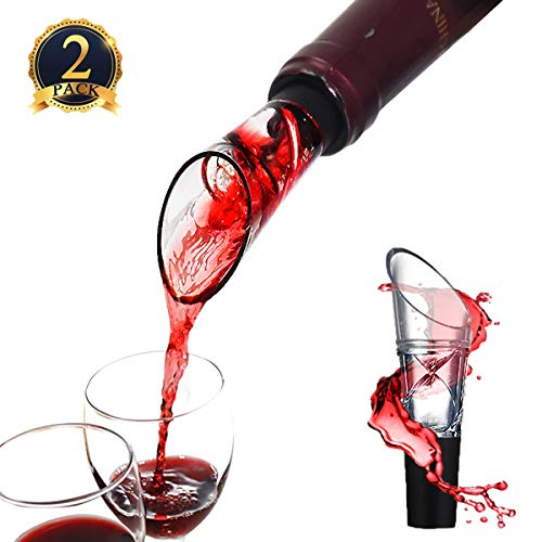 Wine Aerator Pourer Decanter [Spiral Design], Yomiie Premium Upgrade Aerating Spout - Perfect Red Gift Accessory for Red Wine Enthusiasts (2 PACK) by Yomiie