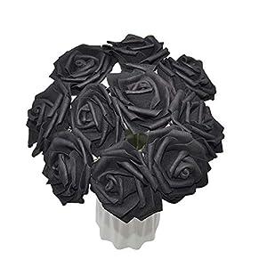 YONGSNOW 30Pcs/lot 8cm PE Foam Rose Artificial Flower Bouquets for Wedding Party Decoration (Black) 5