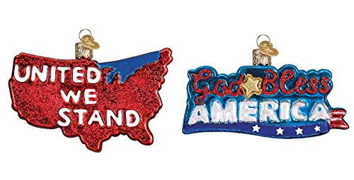 Old World Christmas Patriotic USA Glass Blown Hanging Ornaments - Set of 2 ()