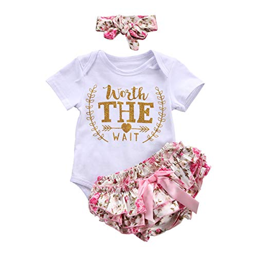 3PCS/Set Cute Newborn Girl Clothes Worth The Actual Wait Baby Bodysuit Romper+Ruffles Tutu Skirted Pants Headband Outfits Full Celestial Satellite Gift (Flannel Hello Fabric Kitty)