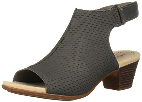 CLARKS Women's Valarie James Heeled Sandal, Grey Nubuck, 95 M US