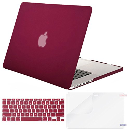 Mosiso Plastic Hard Case with Keyboard Cover with Screen Protector Only for MacBook Pro 13 Inch with Retina Display No CD-Rom (A1502/A1425, Version 2015/2014/2013/end 2012), Wine Red