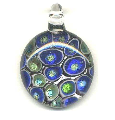 Fused Glass Pendant Bead - FidgetKute Silver Lampwork Fused Round DICHROIC Glass Pendant