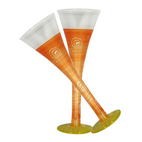 Golden Hill Studio Hollow Flute Champagne Glasses Hand Painted in the USA by American Artists-Set of 2-Frosted Curl Dot Orange Collection (Frosted Hand Champagne Glass Painted)