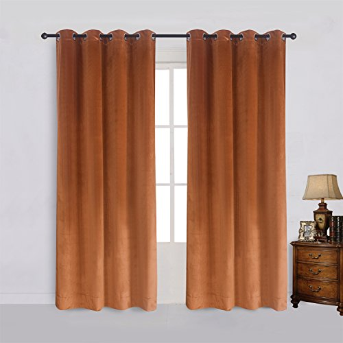 (Super Soft Rustic Velvet Pumpkin Orange Blackout Drapes Room Darkening Curtains Panel Grommet Drapery 52 by 96-Inch Caramel Cafe(2 panels) with Matching Tiebacks)