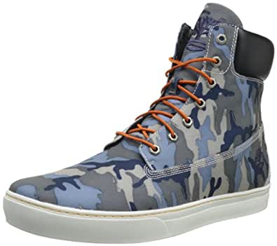 Timberland Men's Newmarket 61 Cupsole Canvas Boot,Blue Camo,15 W US
