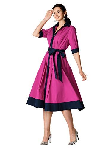 eShakti Women's Contrast Trim Belted Stretch poplin Shirtdress S-6 Short ()