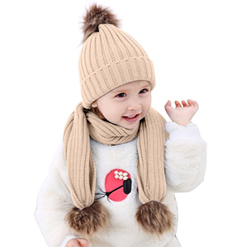 Price comparison product image Infant Toddler Baby Boy Girl Knit Hat Beanie Cap + Scarf Neck Warmers Set (Khaki)
