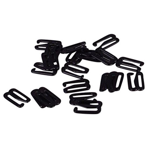 Porcelynne Black Nylon Coated Metal Replacement Bra Strap Slide Hook - 1/2'' (13mm) Opening - 50 Pairs (100 Pieces) by Porcelynne