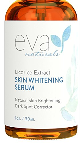 Skin Serum Whitening (Licorice Extract Skin Whitening Serum by Eva Naturals (1 oz) - Natural Skin Lightener and Dark Spot Corrector - Gently Exfoliates for a Brighter Complexion - With Lactic Acid, CoQ10 and Vitamin E)