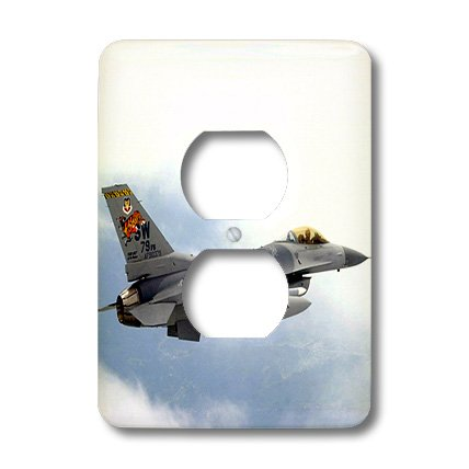 3dRose LLC lsp_813_6 F-16 Jet Aircraft 2 Plug Outlet (813 Six Light)