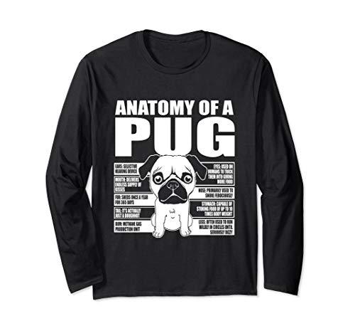 Anatomy Of A Pug Cute Dog Breed Long Sleeve T-Shirt Breed Black Pug T-shirt