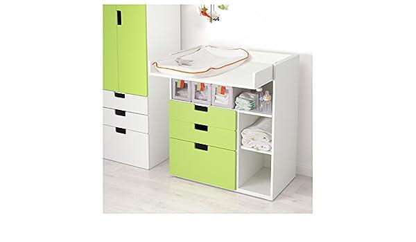 IKEA STUVA - Cambio de mesa con 3 cajones blanco / verde: Amazon ...