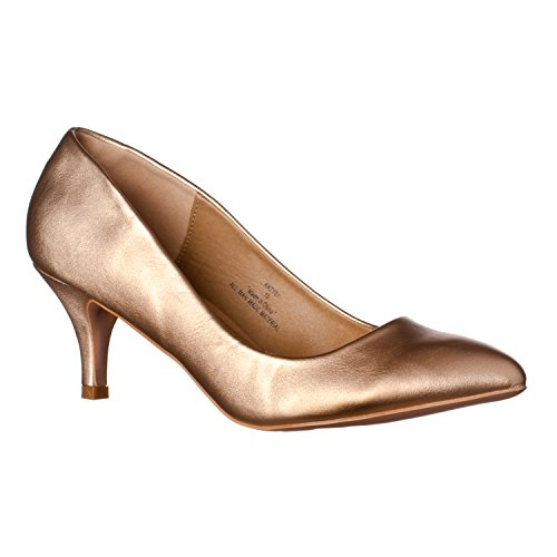Riverberry Women's Katy Pointed Closed Toe Kitten Low Heel Pumps, Rose Gold PU, 9 Sexy Gold Pu Women Shoes