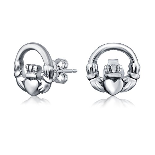 Celtic Earrings Claddagh (Celtic Claddagh Round Cut Out Stud earrings 925 Sterling Silver 10mm)
