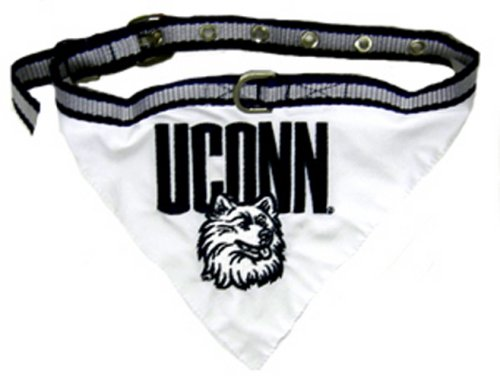 NCAA BANDANA - CONNECTICUT HUSKIES DOG BANDANA with Reflective & Adjustable DOG COLLAR, Large