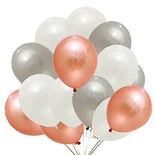 50pc Rose Gold & Silver & White Balloons Decorations for Birthday Party, Bridal Showers, Baby Showers, Weddings, Rose Gold Party Decorations