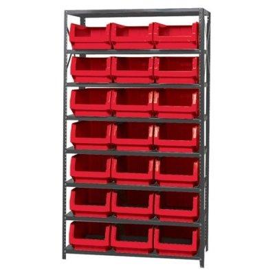 Verified Exchange Magnum Bin Unit with 8 Shelves & 21 Red Bins 19-3/4