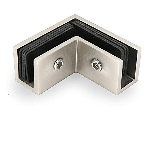 Square 90 Degree Sleeve Over Shower Door Glass Clamp, Brush Finish, CC-101290S