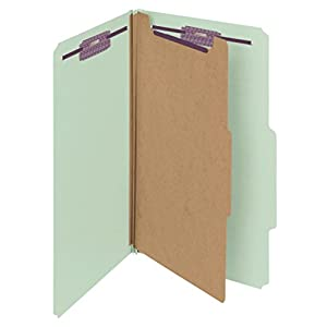 """Smead Pressboard Classification Folder with SafeSHIELD Fasteners, 1 Divider, 2"""" Expansion, Legal, Gray/Green, 10 per box (18776)"""