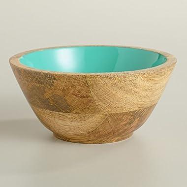 Small Lagoon Blue Wood Salad Bowl, Set of 2 - World Market