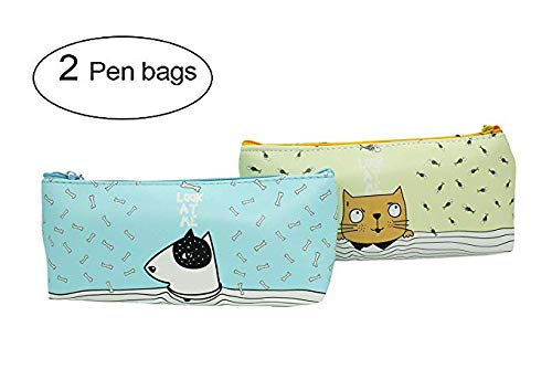 - ShineSnow Funny Cat and Dog with Bones Leather Pen Pencil Bag Case Holder Pouch Canvas Zipper Makeup Cosmetic Bag Stationery Travel School Supplies Set of 2