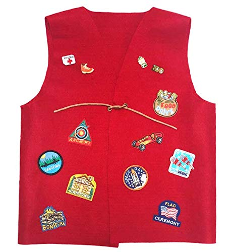 Cub Girl Boy Youth - Large Acrylic Felt Patch Vest for Patches (NO PATCHES INCLUDED), Pins and Badges.