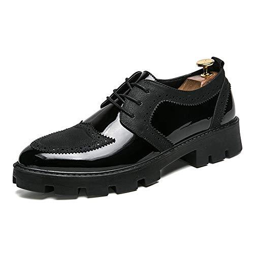 de Elegante de Charol Grueso Cuero Casual Negro Oxford Hombre de Costura Zapatos Personalidad Negocios U6FnUfx