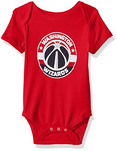NBA by Outerstuff NBA Newborn & Infant Washington Wizards Primary Logo Short Sleeve Bodysuit, Red, 6-9 Months