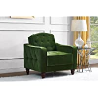 Novogratz Vintage Tufted Armchair, Green Velour