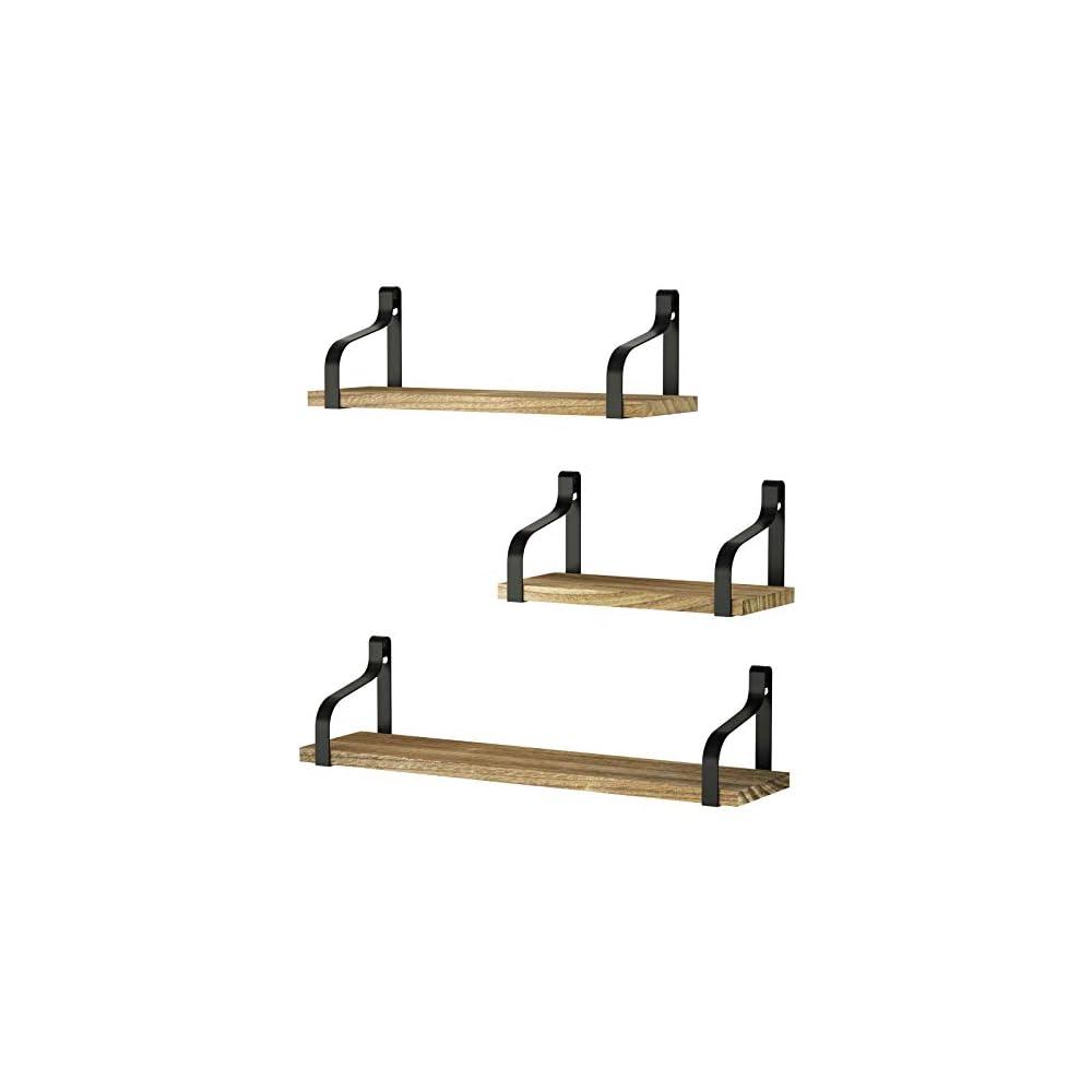 Love-KANKEI Floating Shelves Wall Mounted Set of 3, Rustic Wood Wall Storage Shelves for Bedroom, Living Room, Bathroom…