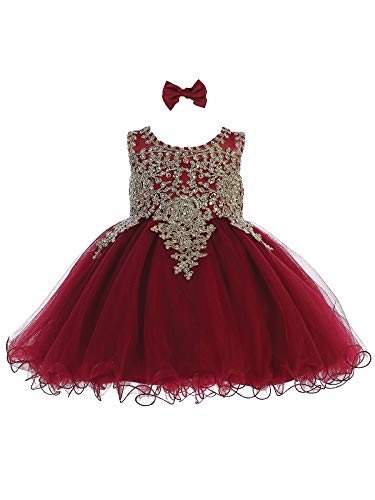 Tip Top Kids Baby Girls Burgundy Gold Lace Tulle Short Pageant Easter Dress 6M