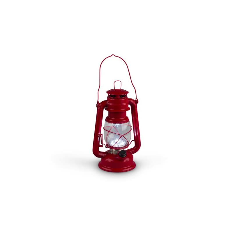 gerson 9 5 inch red metal 15 led hurricane lantern with dimmer