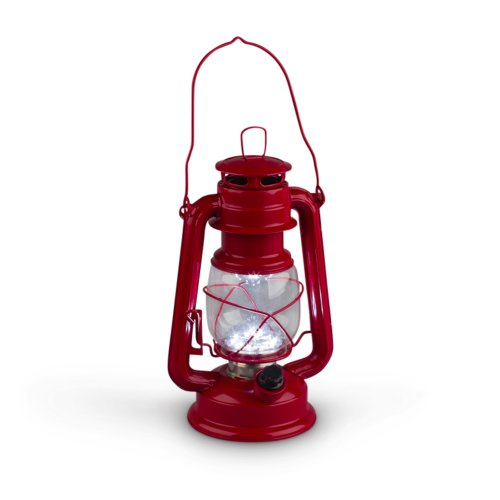 Gerson 9.5-Inch Red Metal 15 LED Hurricane Lantern with Dimmer Switch -