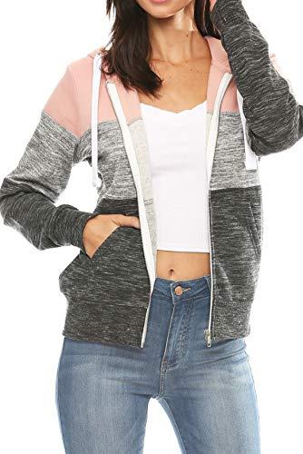 Urban Look Womens Active Long Sleeve Fleece Zip Up Hoodie (Medium, C2 Mauve Pink)