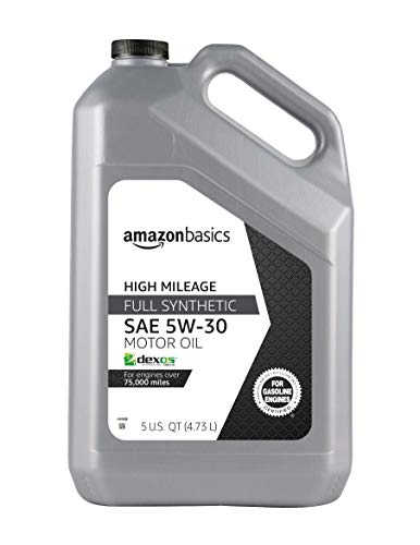 AmazonBasics High Mileage Motor Oil - Full Synthetic (SN Plus, dexos1-Gen2) - 5W-30 - 5 Quart