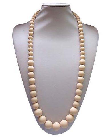 BiXonTM Silicon Teething Necklace Round Beaded Navajo White